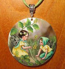SHELL Pendant Black Medick Fairies FLOWER FAIRY Genuine Russian hand painted ART