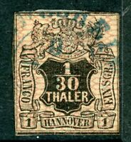 Germany 1856 Hannover 1/30 Thaler Black & Rose Large Mesh SG # 15 VFU  F968