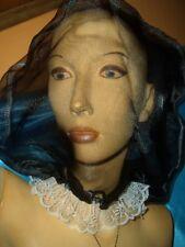 Sissy Organza Spitzen Maske schwarz-weiß Organzahaube Maske neu (M150)