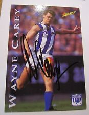 Nth Melbourne - Wayne Carey hand signed Select 1995 Card + COA