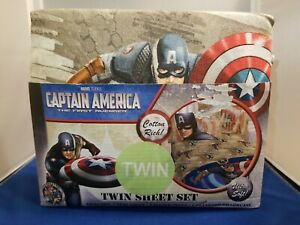 Captain America The First Avenger Twin Size Sheet Set Cotton Ultra Soft New