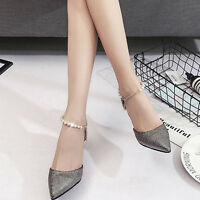 Women's Pointed Toe Stilettos Beaded Strap  High Heels Pumps Party Wedding Shoes