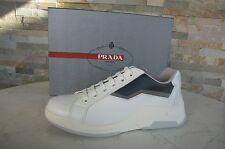 luxus PRADA Gr 41  7 Herren Sneakers Schuhe shoes weiß blau grau NEU UVP 550€