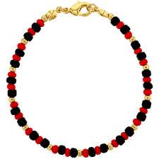 "18k Gold Plated Evil Eye Protection Bracelet Beaded Red Black Bracelet Ladies 7"""