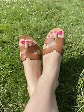 beautiful leather slippers size uk 6 ( well worn)