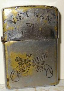 Vietnam War Year 70-71 Tuy Hoa Zippo Lighter UNIQUE MOTTO MP Logo Military Polic
