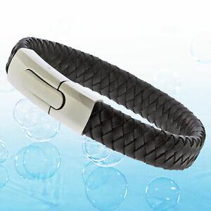 Mens Black Genuine Flat Leather Braided Wristband Bracelet Toggle Steel Clasp