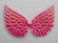 100 Angel & Fairy Wings  - Deep Pink Iridescent Wing Embellishments 7cm/2.5""