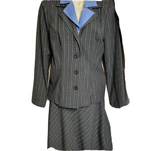 My Michelle Skirt Suit Sz 5/6 Jacket Slate Gray Pin Stripe Blue 2pc Spandex
