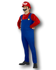 Adult Mario Bros Style Costume Plumbers Mate Fancy Dress Costume 80's Party