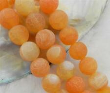 "10mm Orange Dream Fire Dragon Veins Agate Round Gems Loose Beads 15"" AAA"