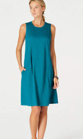 NEW J. Jill XS L Tank Seamed Dress Sundress Pockets Pima Cotton Teal Blue