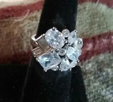 """Avon CLEAR CZ Silvertone Gorgeous Cocktail  """"Cluster"""" RING - Size 6 New in Box"""