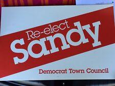 Political Campaign Lawn Sign ~ Re- Elect SANDY Democrat Town Council CT 391522