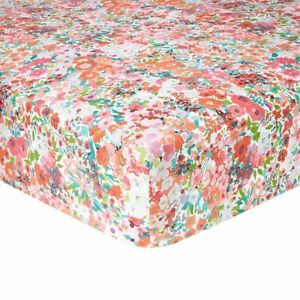 "Yves Delorme Millefiori 18"" Fitted Sheet Red White Multi Floral 100% Cotton New"