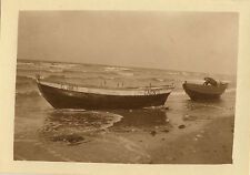 PHOTO ANCIENNE - VINTAGE SNAPSHOT - BATEAU BARQUE MER CAEN PÊCHEUR - BOAT SEA