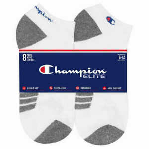 SALE! Men's Champion Elite 8 Pack Socks Low Cut Cushioned Arch Support A12