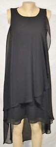 CHRISTIN MICHAELS Black Sleeveless High Low Dress 4 Flowing Layers Lined
