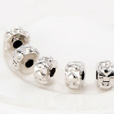 5 Pcs Heart Stopper Beads For European Bracelets Silver filled vogue Jewelry