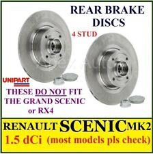 RENAULT SCENIC MK2 Rear Pair of Brake discs 1.5 dCi most models + Bearings & ABS