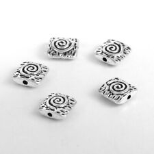 Beads - 10x10 Antique Silver Square Spacer - Hole 1.4mm - 10Pcs