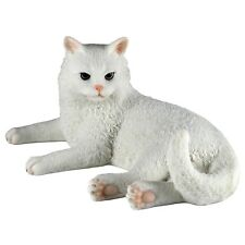 """White Cat Figurine Laying 5.5""""Long Highly Detailed Polystone New In Box!"""