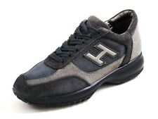 Hogan Fashion Sneakers Gray Suede Blue Denim Womens size US 7 EU 37.5