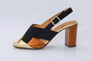 New Chie Mihara Benita Women's Ankle Sandals Leather Spain Gold Black