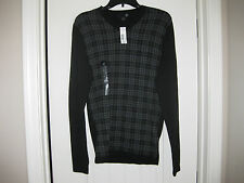 NEW WITH TAGS J F FERRAR V NECK SWEATER LIGHT ATHLETIC FIT SMALL BLACK PLAID