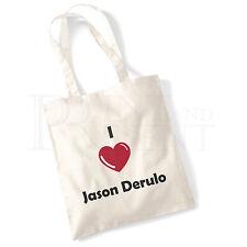 'I love (Heart) Jason Derulo' Cotton Canvas Reusable Shopping Tote Bag