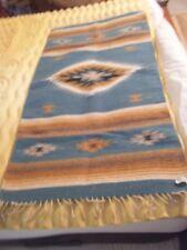 Handmade Artesanias Mexicanas Turquoise Blue Southwest Design Wool Rug - 57 X 30