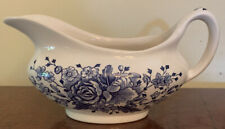 Vintage Kew Gardens Gravy Boat by English Ironstone Tableware Blue 💐Used