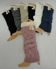 Ladies LEG WARMER Knitted Stretch 2 BUTTONS Soft Winter Socks