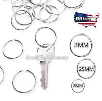 Lot 20/25/30 mm Key Rings Chains Split Ring Hoop Metal Steel in Silver keyring