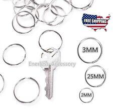 Lot 20/25/30 mm Key Rings Chains Split Ring Hoop Metal Steel in Silver keyring