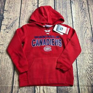 NHL Youth Small Montreal Canadiens Red Pullover Sweatshirt Logo Hoodie New