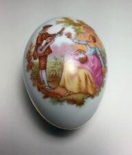 Vintage Limoges France Fragonard Victorian Couple Porcelain Egg Gold Trim