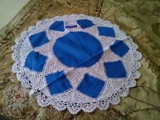 """LINEN LACE CUSHION COVER HANDMADE IN SIZE 16"""" white and Blue COLOR"""