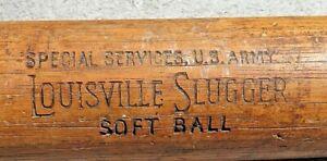 Vintage 1940s Special Services US Army Louisville Slugger 102 H&B Soft Ball Bat
