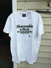 Abercrombie & Fitch Logo T-Shirt Men's WHITE W/ BLACK AND GRAY Size XL
