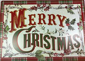 Set of 4 Foam Back Vinyl  Christmas Placemats  MERRY CHRISTMAS  Color