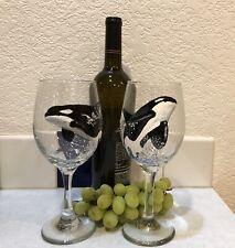 Orca Killer whale hand painted wine glass pair 20 oz. Unique Gift, Original