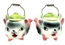 Vintage Japan Teapot Salt & Pepper Shakers Cats?  Tea Pots S&P VTG Kettles Set