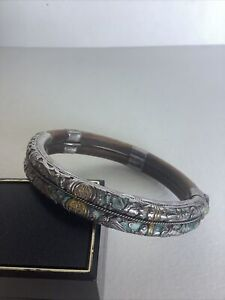 Antique Chinese Filigree Silver and Enamel Bamboo Bracelet RARE!