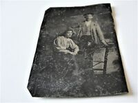 ORIGINAL Antique 1870s-1880s, Victorian Family Husband & Wife-Tintype PHOTO.