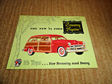 THE NEW '51 FORD COUNTRY SQUIRE TRI-FOLD SALES BROCHURE ORIGINAL EXCELLENT