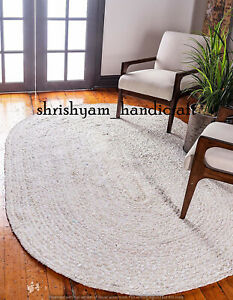 Natural Braided Oval Cotton Rug Area Mat Vintage Hand woven 6x9Feet Rag Rugs