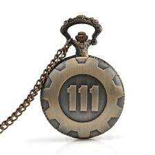 Bronze Pocket Watch Fallout 4 Vault 111 Electronic Games Necklace Chain Pen J3W0