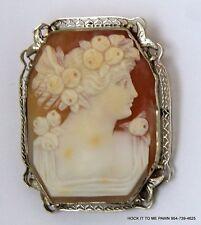 Vintage 14K White Gold Cameo  Large Brooch Pin Pendant 11.2 gr