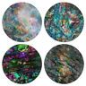 Set of 4 Mixed Absorbent Fabric Felt Neoprene Washable ROUND Coasters Coffee